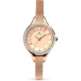 Accurist 8005 Crystal & Rose Gold Mesh Band Ladies Watch
