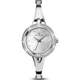 Accurist 8009 Crystal Case & Silver Stainless Steel Slim Ladies Watch
