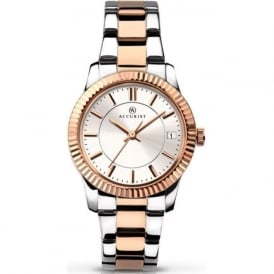 Accurist 8014 Rose Gold & Silver Stainless Steel Ladies Watch