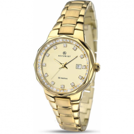 Accurist 8015 Gold Plated Contemporary Stainless Steel Ladies Watch
