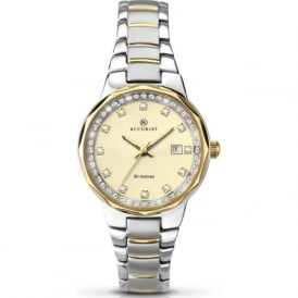 Accurist 8016 Gold & Silver Stainless Steel Crystal Dials Ladies Watch