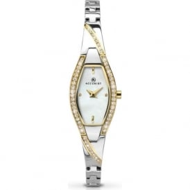 Accurist 8028 Gold Crystal & Silver Stainless Steel Ladies Watch