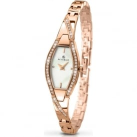Accurist 8030 Crystal & Rose Gold Plated Stainless Steel Watch