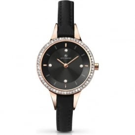 Accurist 8044 Crystal Case & Black Leather Ladies Slim Watch