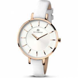 Accurist 8081 Contemporary White Leather Ladies Watch