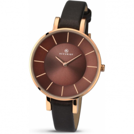 Accurist 8088 Contemporary Rose Gold & Brown Leather Ladies Watch