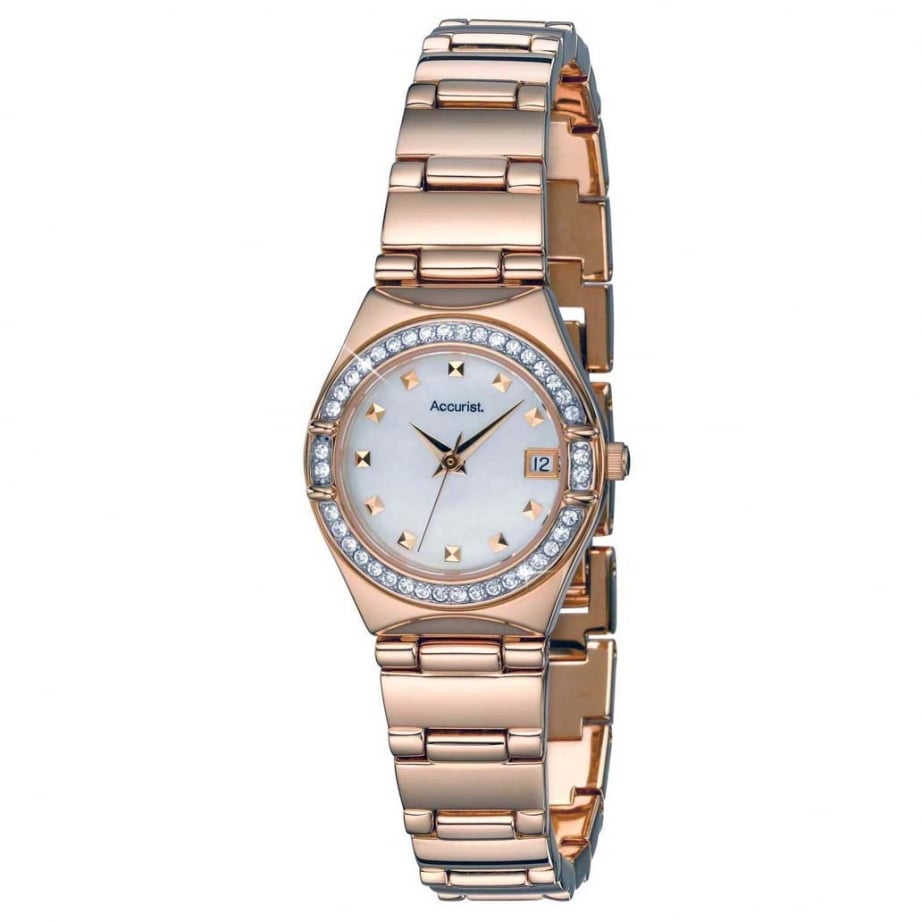 Lb1664p accurist crystal and rose gold ladies watch available at tic watches for Crystal ladies watch
