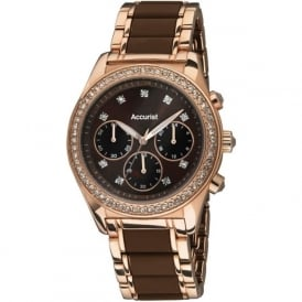 Accurist LB211BR Rose Gold & Crystals Ladies Chronograph Watch