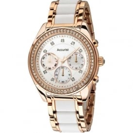 Accurist LB211W Crystal & Rose Gold Stainless Steel Chronograph Ladies Watch