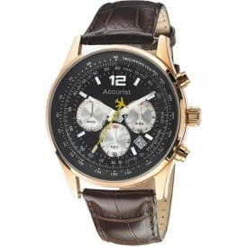 Accurist MS898B Rose Gold & Brown Leather Men's Chronograph Watch