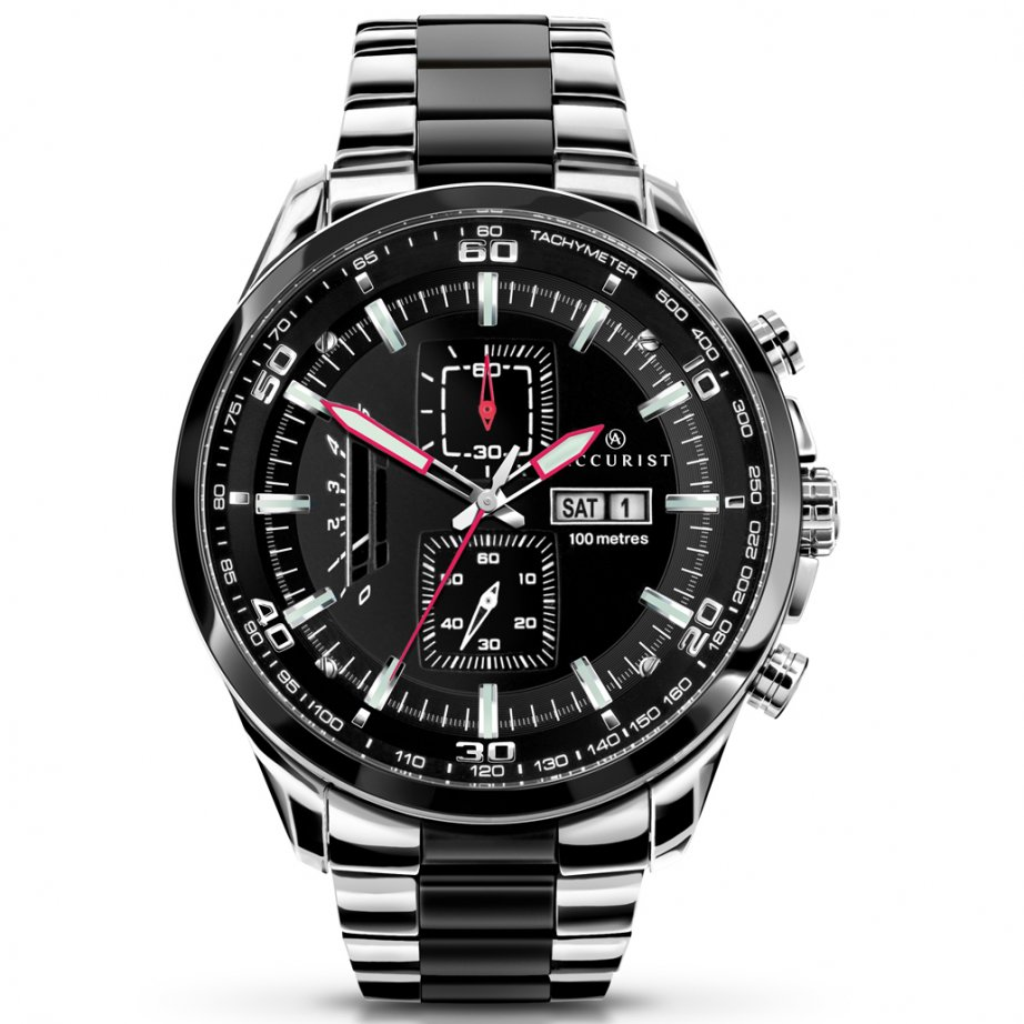 accurist 7006 black stainless steel chronograph