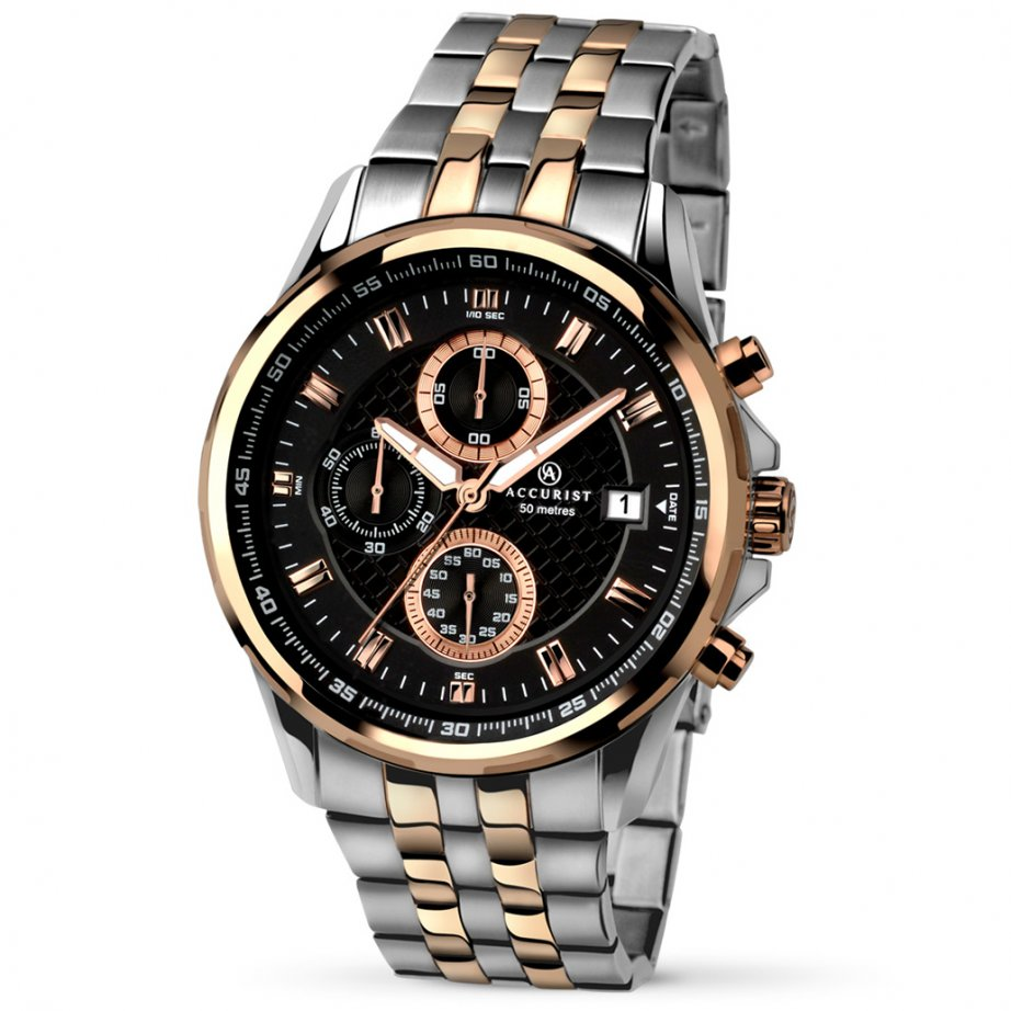 accurist 7036 rose gold stainless steel men 39 s chronograph. Black Bedroom Furniture Sets. Home Design Ideas