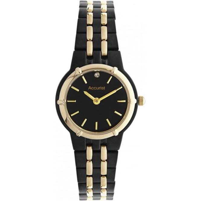 Accurist Black Stainless Ladies Watch LB1742B