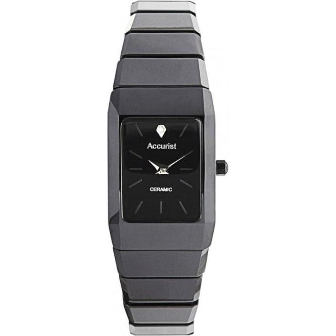 Accurist Watches Ceramic Black Ladies Watch LB1652