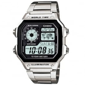 Casio Watches AE-1200WHD-1AVEF Casio World Time Silver Stainless Steel Mens Watch