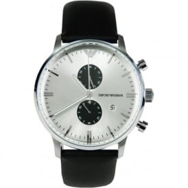 Armani Watches AR0385 Silver & Black Leather Multifunction Mens Watch