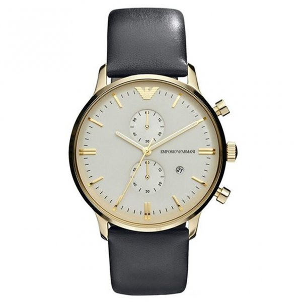 ar0386 emporio armani men s grey leather and gold watch available armani watches ar0386 grey leather gold tone men s watch
