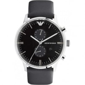 Armani Watches AR0397 Emporio Armani Gianni Mens Black Leather Watch