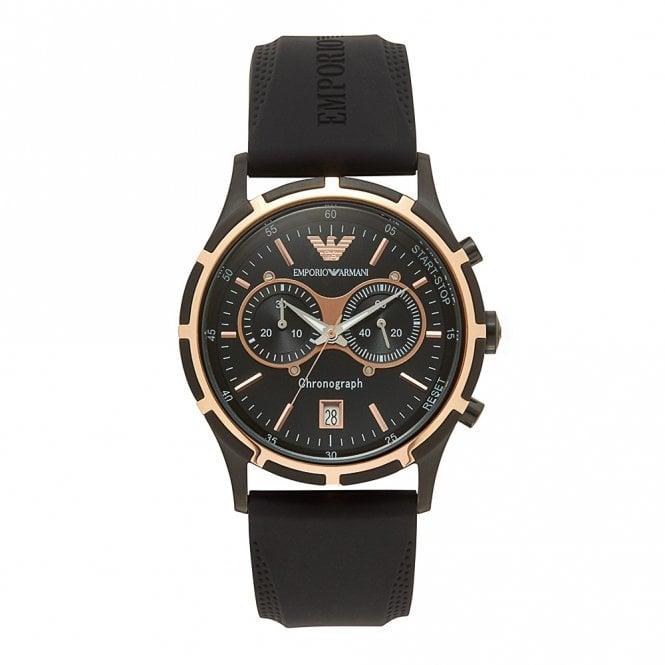 laaja valikoima uskomattomia hintoja kohtuullinen hinta AR0584 Black Silicon Chronograph Mens Watch