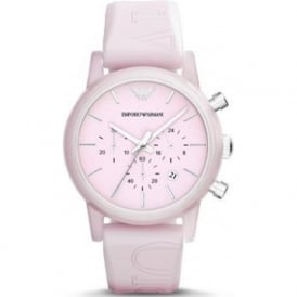 Armani Watches AR1056 Pink Silicon Chronograph Women's Watch