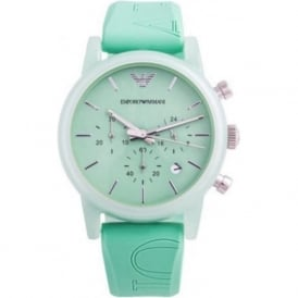 Armani Watches AR1057 Turquoise Silicon Chronograph Women's Watch
