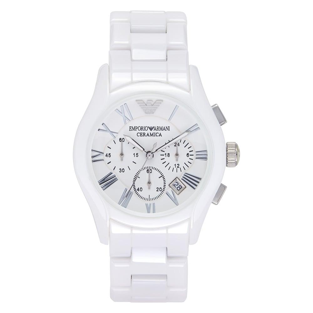9e3bef63 AR1403 Gents Chronograph White Ceramic Armani Watch
