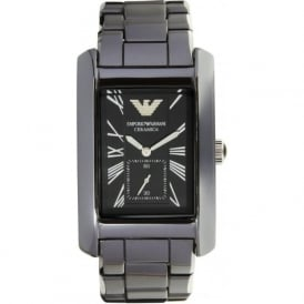 Armani Watches Ceramic Black Mens Rectangle Watch AR1406