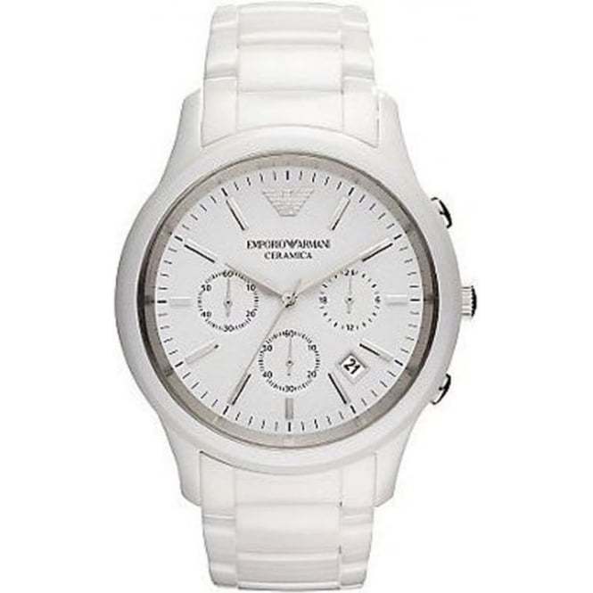 ar1453 armani mens white ceramic chronograph watch available at armani watches ar1453 white ceramic chronograph mens watch