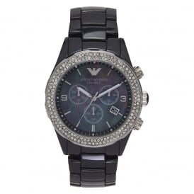 AR1455 Ladies Black Crystal Ceramica Watch
