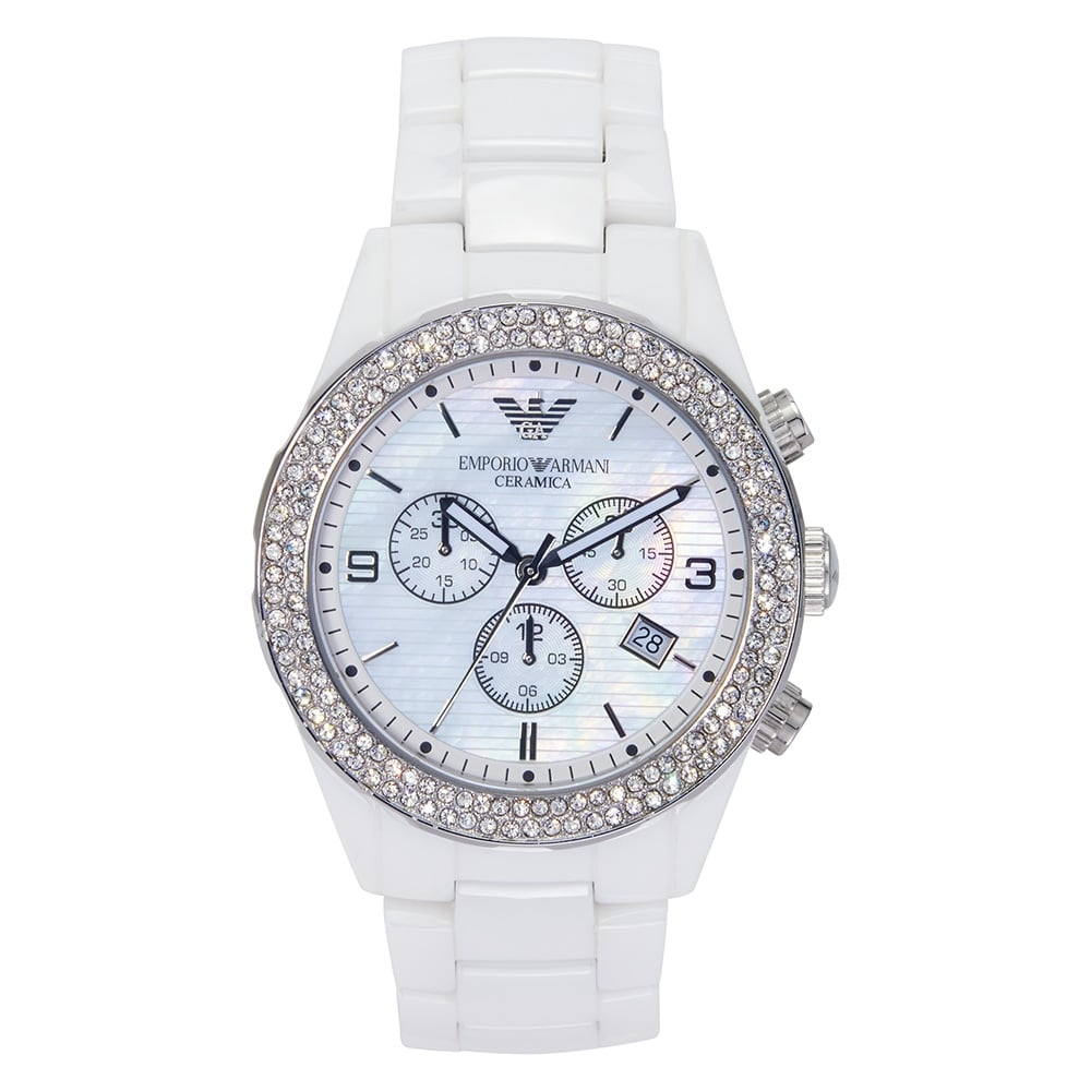 Emporio Armani AR1456 ladies white crystal ceramica watch  536d6605b