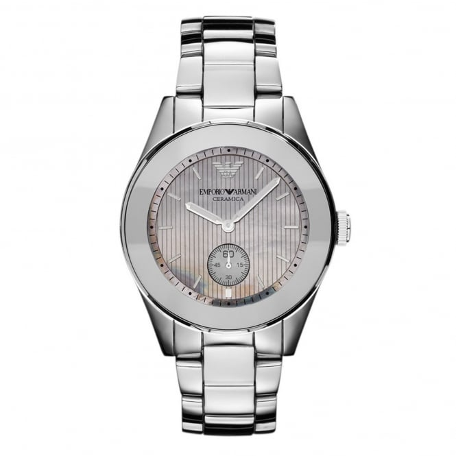 Armani Watches AR1463 Mother of Pearl & Silver Titanium Ceramic Ladies Watch