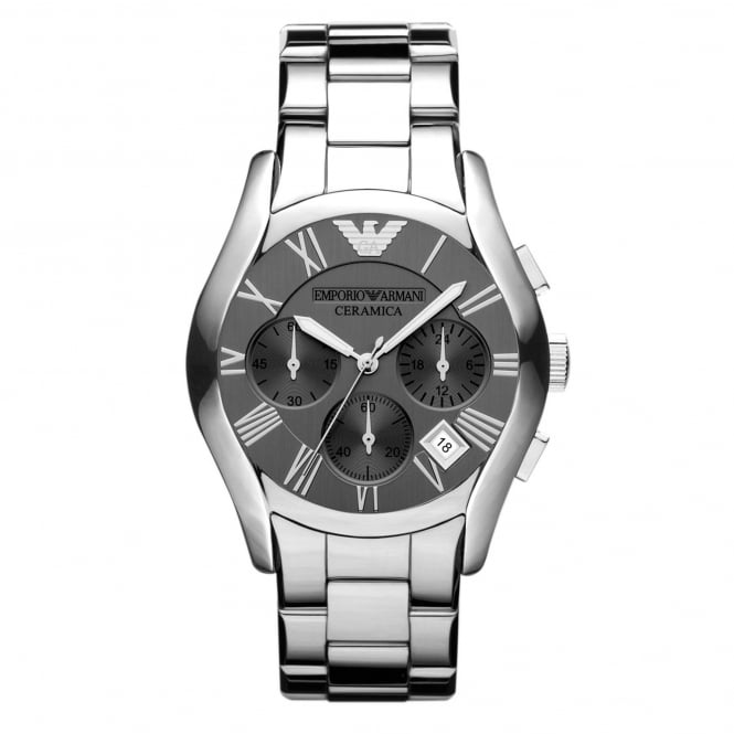 Armani Watches AR1465 Dark Grey & Silver Titanium Ceramic Chronograph Mens Watch