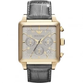 Armani Watches AR1625 Gold & Grey Leather Chronograph Mens Watch
