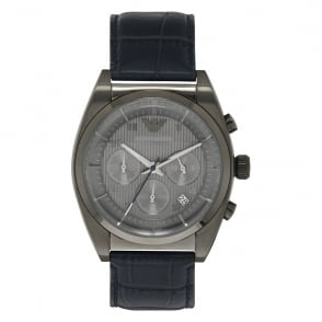 Armani Watches AR1650 Grey & Blue Leather Chronograph Mens Watch
