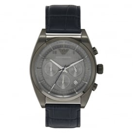 AR1650 Grey & Blue Leather Chronograph Mens Watch