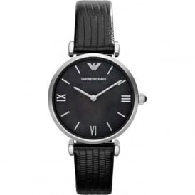 Armani Watches AR1678 Black Leather Textured Ladies Armani Watch