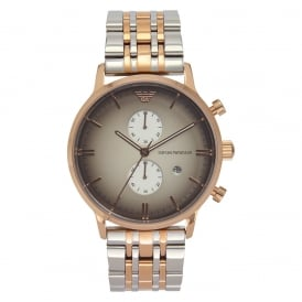 AR1721 Armani Rose Gold-Tone & Stainless Steel Multifunction Mens Watch