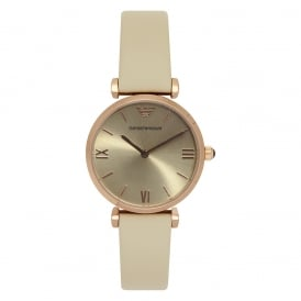 AR1769 Rose Gold & White Leather Ladies Watch