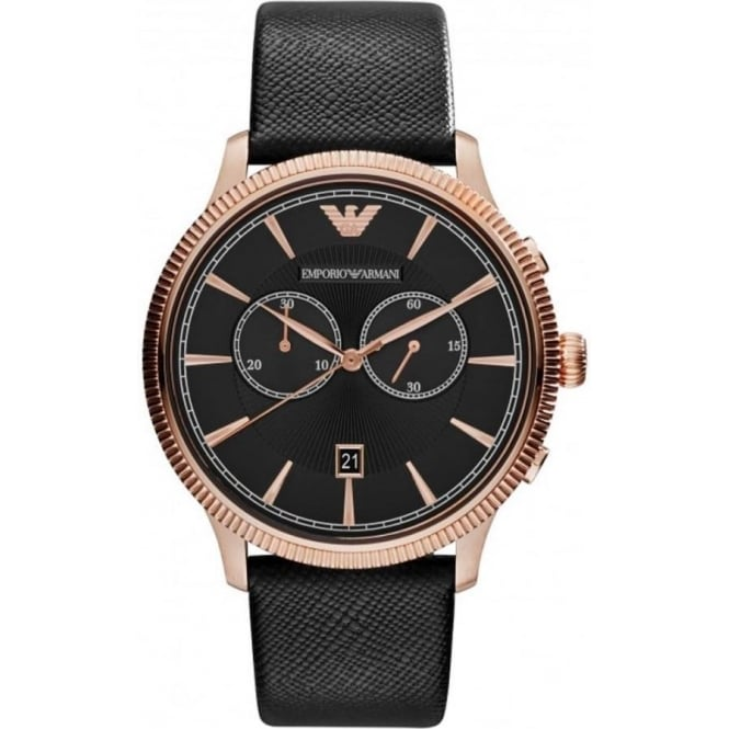 Armani Watches AR1792 Rose Gold & Black Leather Chronograph Mens Watch