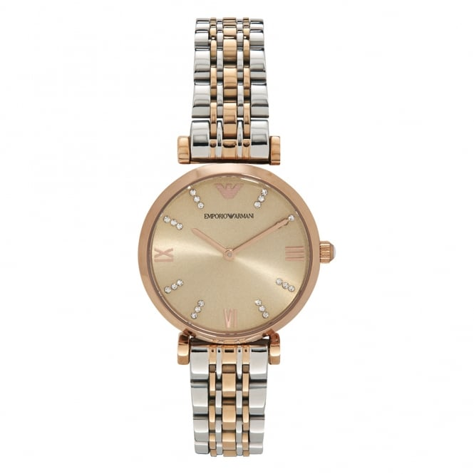 Armani Watches AR1840 Two Toned Silver & Rose Gold Women's Watch