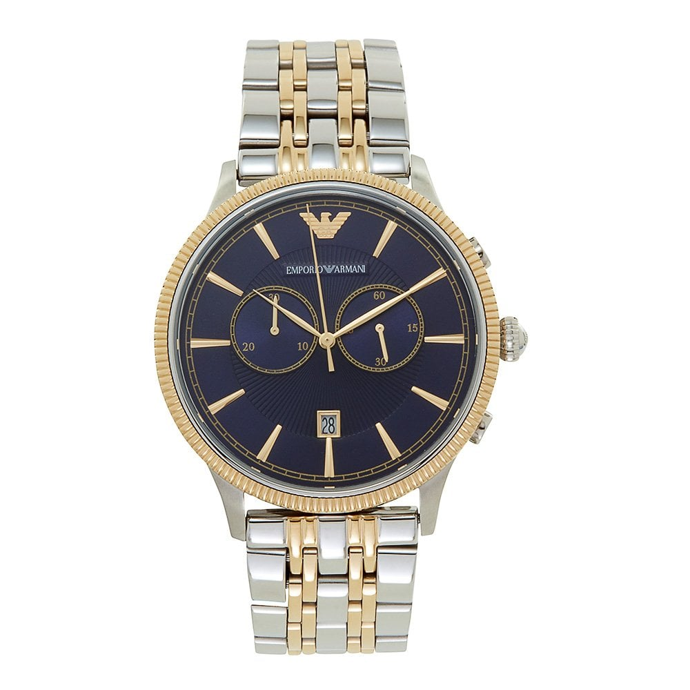 852f226f26c AR1847 Emporio Armani Blue and Two Tone Stainless Steel Chronograph ...