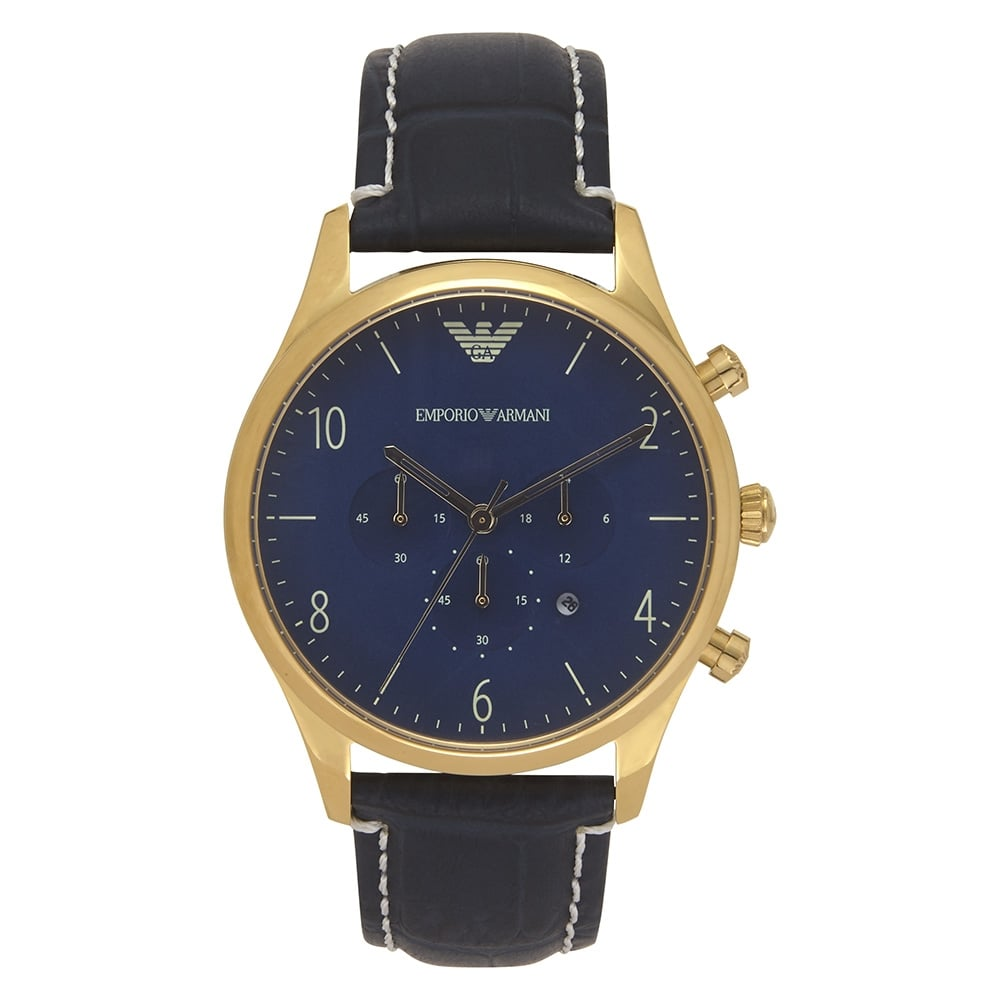 20c8eede55ec AR1862 Armani Gold and Blue Leather Chronograph Mens Watch available ...
