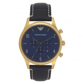 AR1862 Gold & Blue Leather Mens Watch