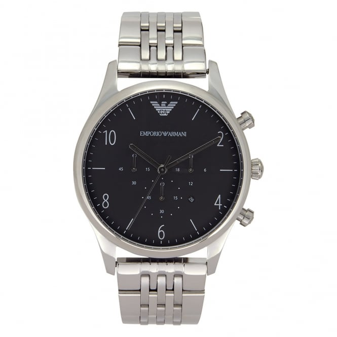 Armani Watches AR1863 Mens Black & Silver Stainless Steel Watch