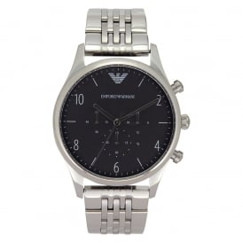 AR1863 Mens Black & Silver Stainless Steel Watch