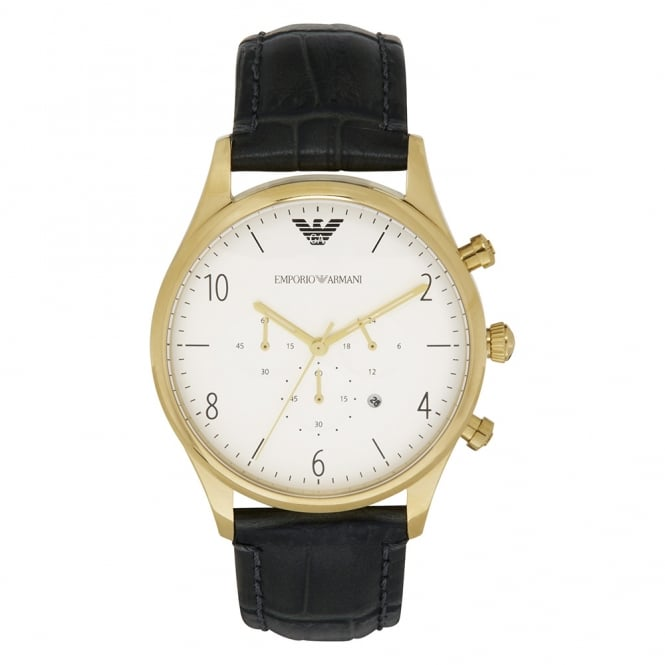 Armani Watches AR1892 Gold & Black Leather Chronograph Mens Watch
