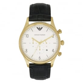AR1892 Gold & Black Leather Chronograph Mens Watch