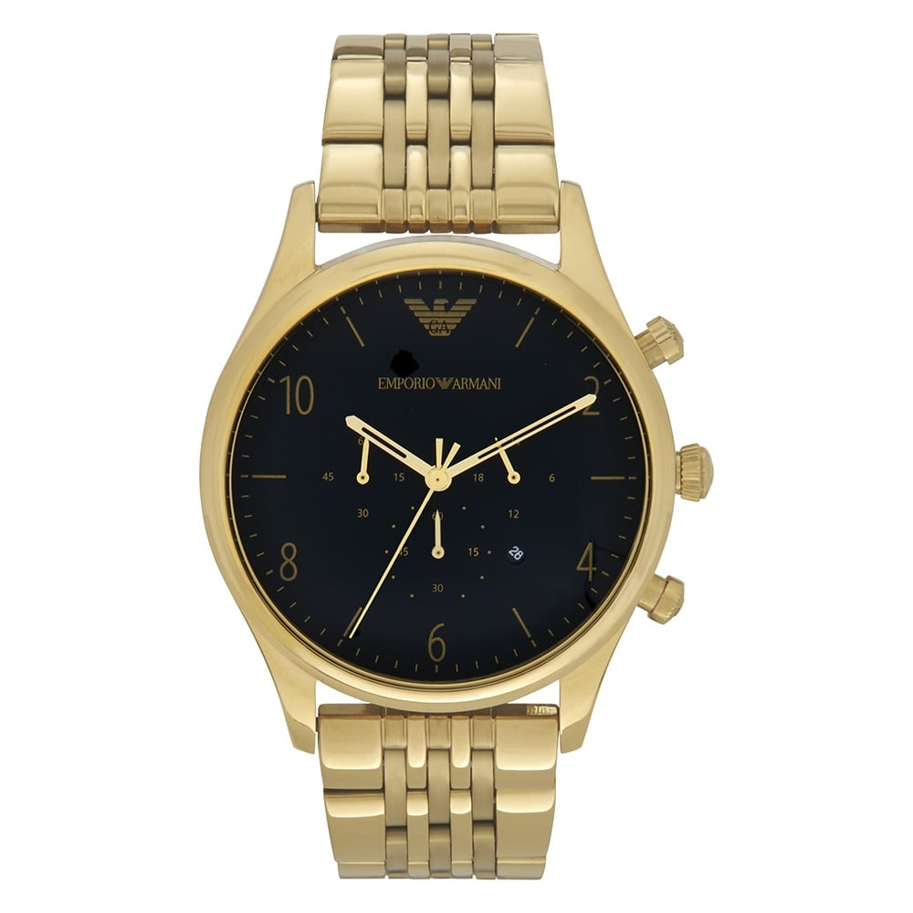 Ar1893 armani men 39 s black and gold metal bracelet watch available at tic watches for Watches gold