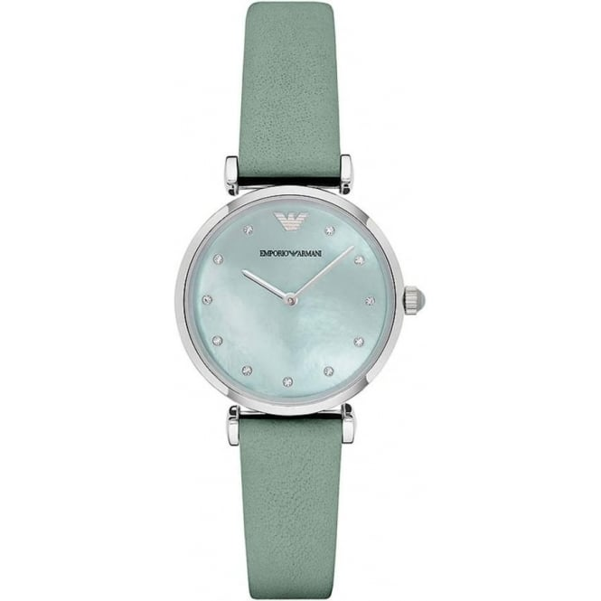 Armani Watches AR1959 Silver & Mint Green Leather Ladies Watch