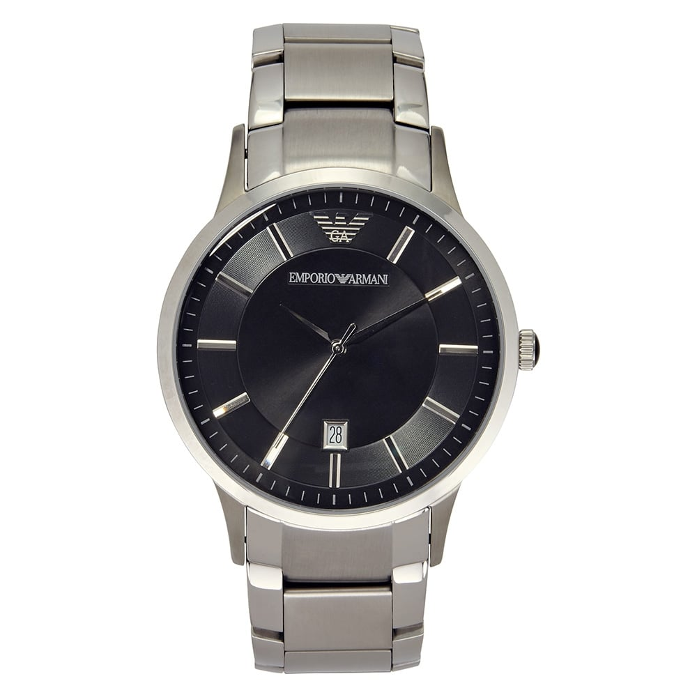 1bfc431246 AR2457 Gents Silver & Black Watch